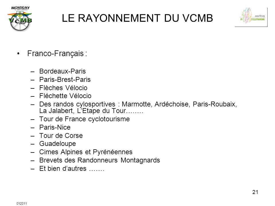 012011 21 LE RAYONNEMENT DU VCMB Franco-Français : –Bordeaux-Paris –Paris-Brest-Paris –Flèches Vélocio –Fléchette Vélocio –Des randos cylosportives :
