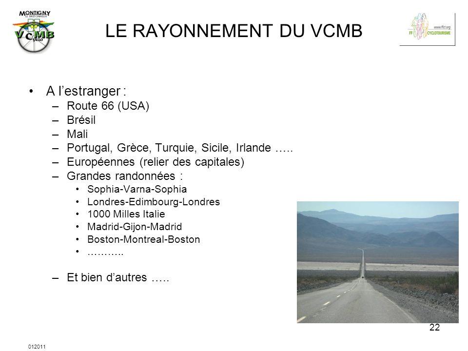 012011 22 LE RAYONNEMENT DU VCMB A lestranger : –Route 66 (USA) –Brésil –Mali –Portugal, Grèce, Turquie, Sicile, Irlande ….. –Européennes (relier des