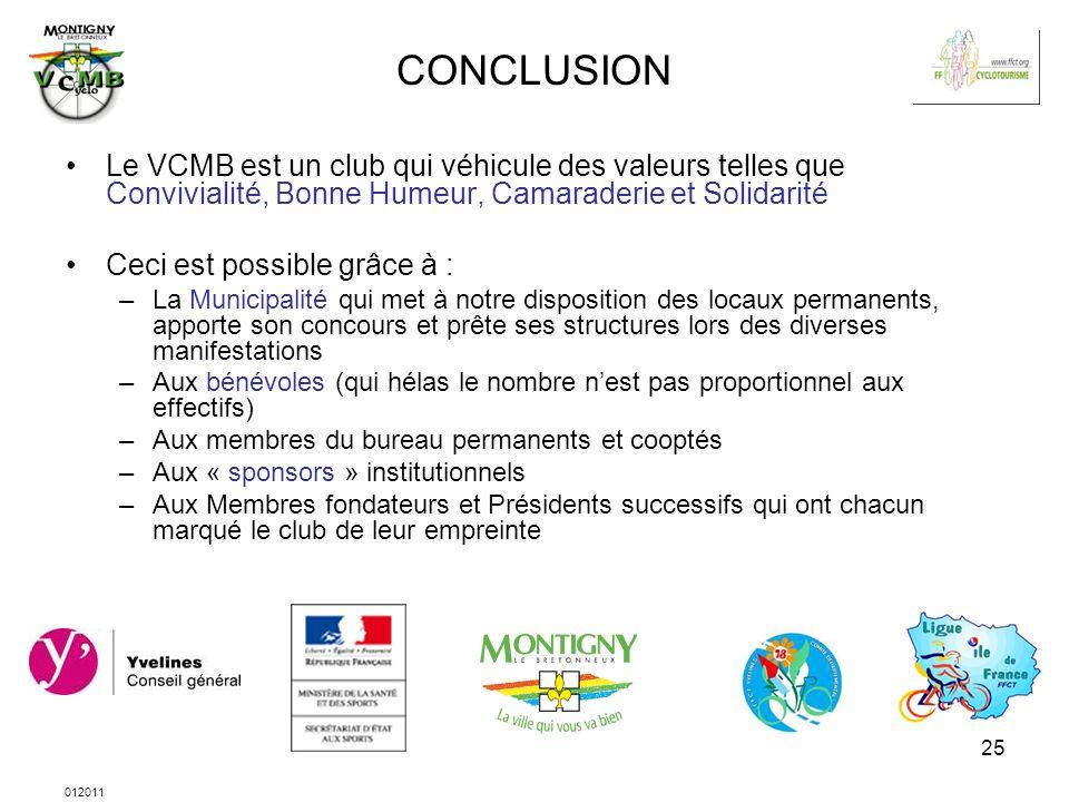 012011 25 CONCLUSION Le VCMB est un club qui véhicule des valeurs telles que Convivialité, Bonne Humeur, Camaraderie et Solidarité Ceci est possible g