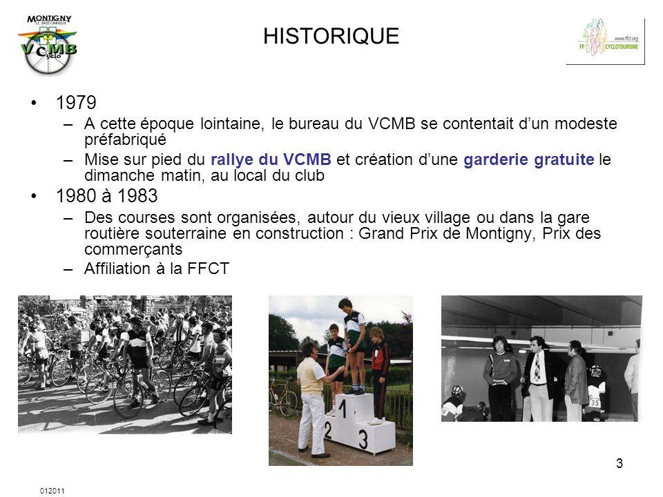 012011 4 HISTORIQUE 1983 –Un local est mis à disposition du club par la Mairie 1988 –Premier Paris-Brest-Paris 1989 –Création dune section VTT, affiliée à la FFC.
