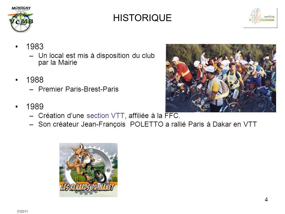 012011 4 HISTORIQUE 1983 –Un local est mis à disposition du club par la Mairie 1988 –Premier Paris-Brest-Paris 1989 –Création dune section VTT, affili