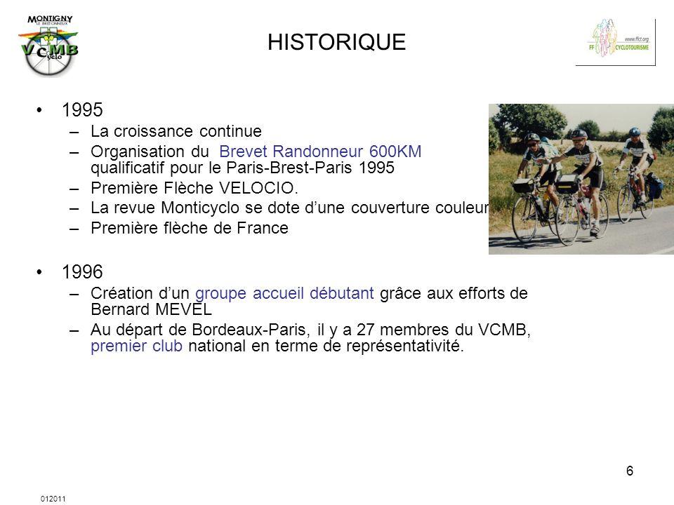 012011 6 HISTORIQUE 1995 –La croissance continue –Organisation du Brevet Randonneur 600KM qualificatif pour le Paris-Brest-Paris 1995 –Première Flèche