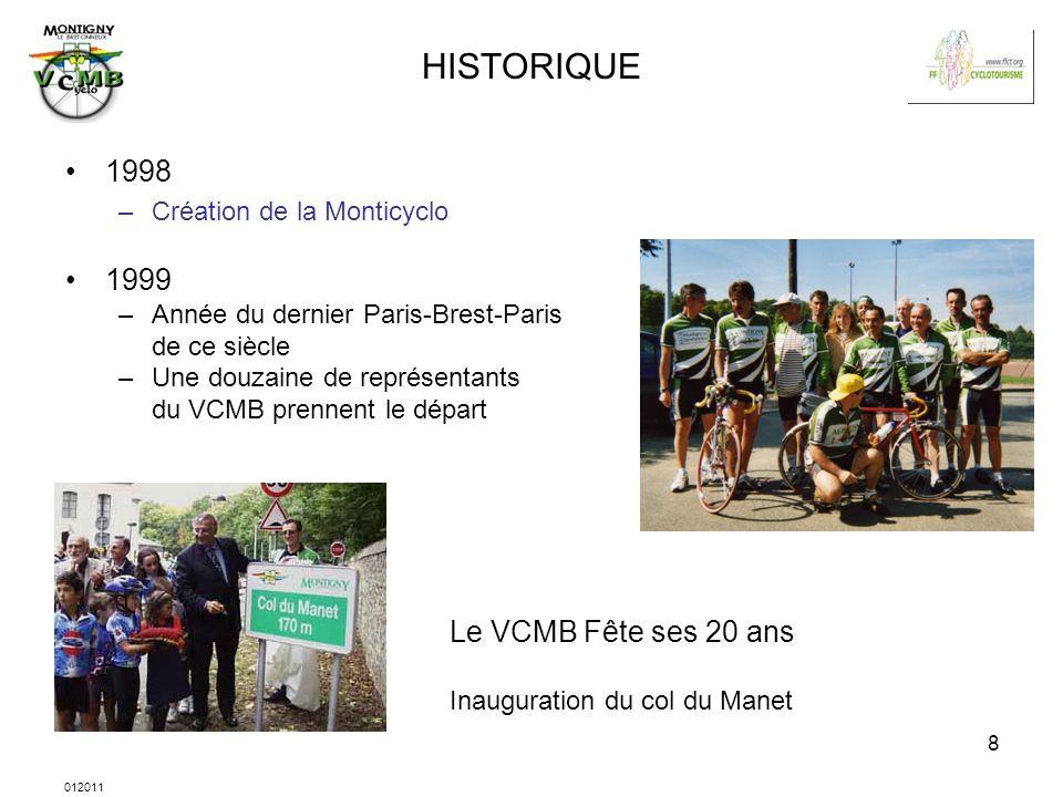 012011 8 HISTORIQUE 1998 –Création de la Monticyclo 1999 –Année du dernier Paris-Brest-Paris de ce siècle –Une douzaine de représentants du VCMB prenn