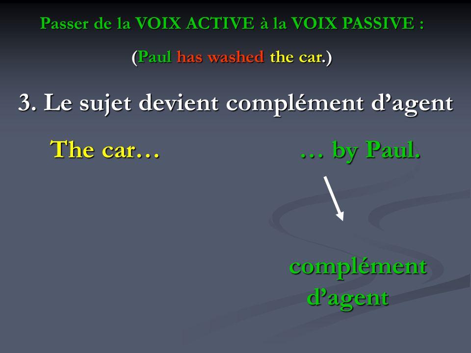 3. Le sujet devient complément dagent The car… … by Paul. complément dagent Passer de la VOIX ACTIVE à la VOIX PASSIVE : (Paul has washed the car.)