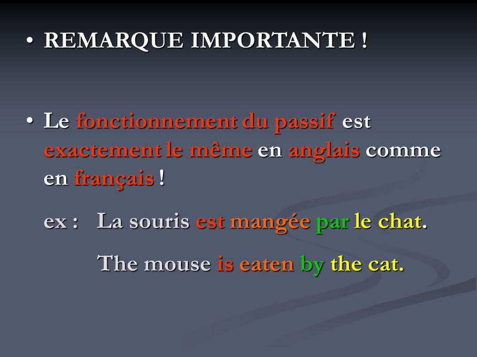 REMARQUE IMPORTANTE !REMARQUE IMPORTANTE ! Le fonctionnement du passif est exactement le même en anglais comme en français !Le fonctionnement du passi