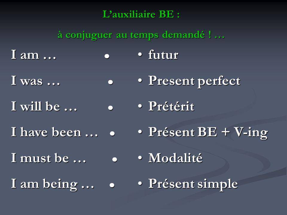 Lauxiliaire BE : à conjuguer au temps demandé ! … I am … I am … I was … I was … I will be … I will be … I have been … I have been … I must be … I must