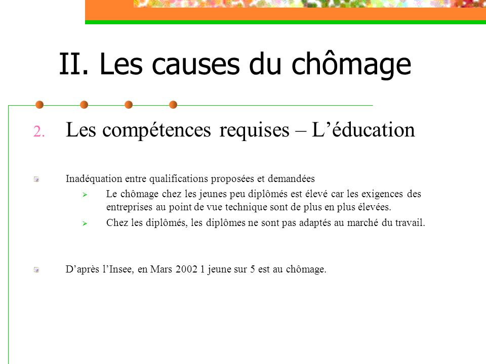II. Les causes du chômage 2. Les compétences requises – Léducation Inadéquation entre qualifications proposées et demandées Le chômage chez les jeunes