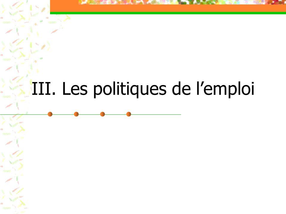 III. Les politiques de lemploi