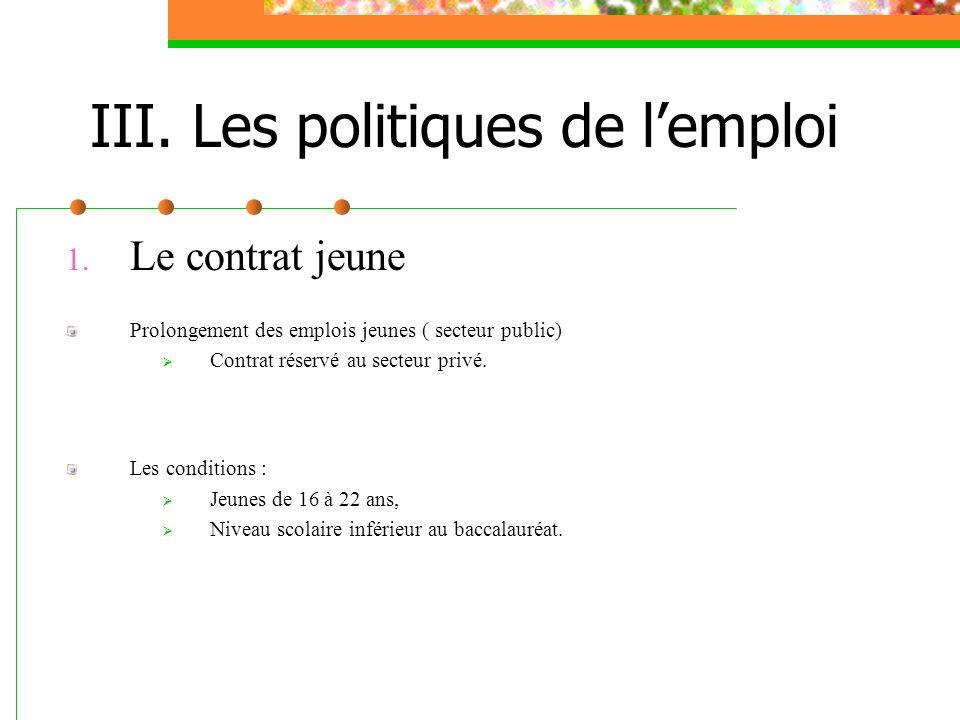 1. Le contrat jeune Prolongement des emplois jeunes ( secteur public) Contrat réservé au secteur privé. Les conditions : Jeunes de 16 à 22 ans, Niveau