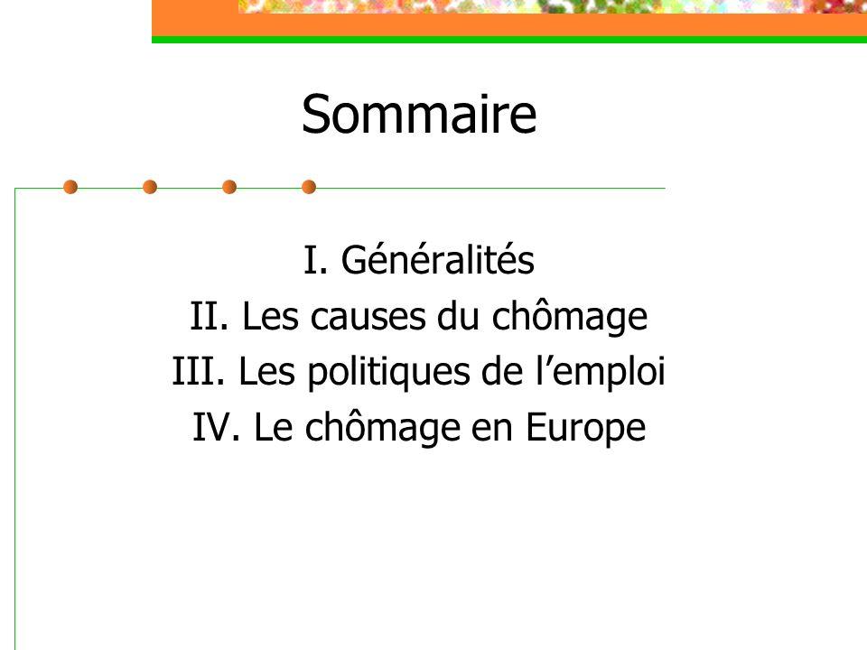 Sommaire I. Généralités II. Les causes du chômage III. Les politiques de lemploi IV. Le chômage en Europe