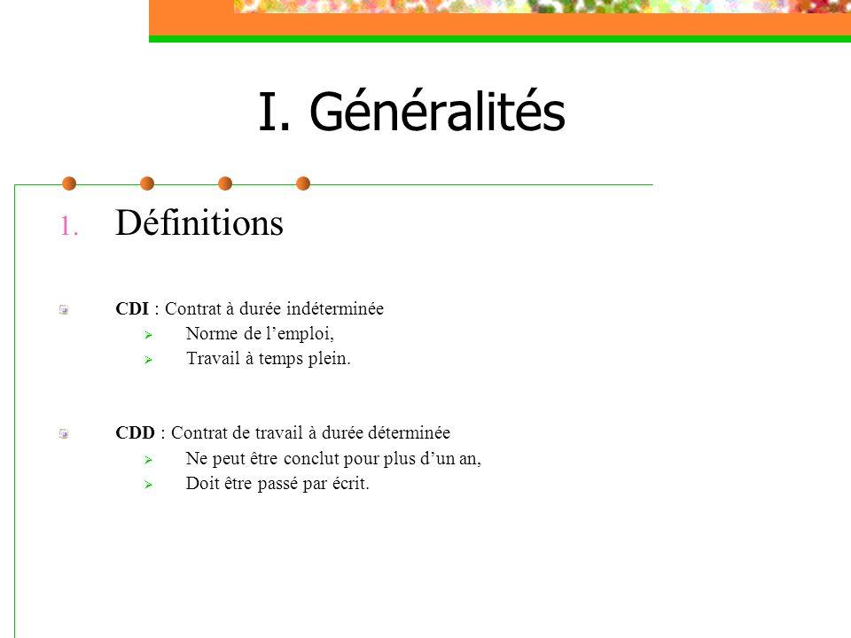 1. Définitions CDI : Contrat à durée indéterminée Norme de lemploi, Travail à temps plein. CDD : Contrat de travail à durée déterminée Ne peut être co