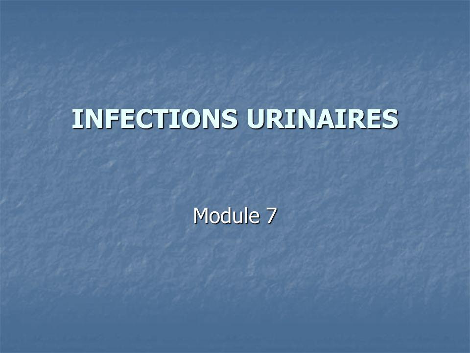 Infections urinaires et Hommes Vérifier si atteinte primitive ou secondaire de la prostate Vérifier si atteinte primitive ou secondaire de la prostate Si atteinte prostatique associée, durée du traitement dune prostatite Si atteinte prostatique associée, durée du traitement dune prostatite Débuter un bilan urologique dès le premier épisode dinfection urinaire sans prostatite primitive Débuter un bilan urologique dès le premier épisode dinfection urinaire sans prostatite primitive UIV, scanner rénal, épreuves uro-dynamiques...