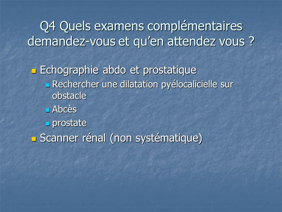 Q4 Quels examens complémentaires demandez-vous et quen attendez vous ? Echographie abdo et prostatique Echographie abdo et prostatique Rechercher une