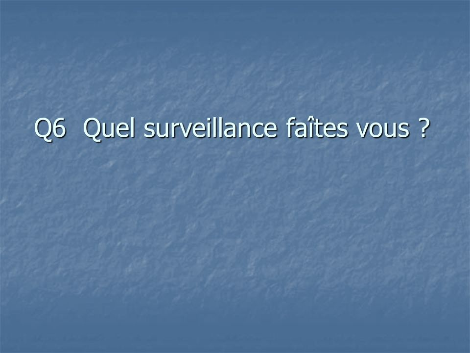 Q6 Quel surveillance faîtes vous ?