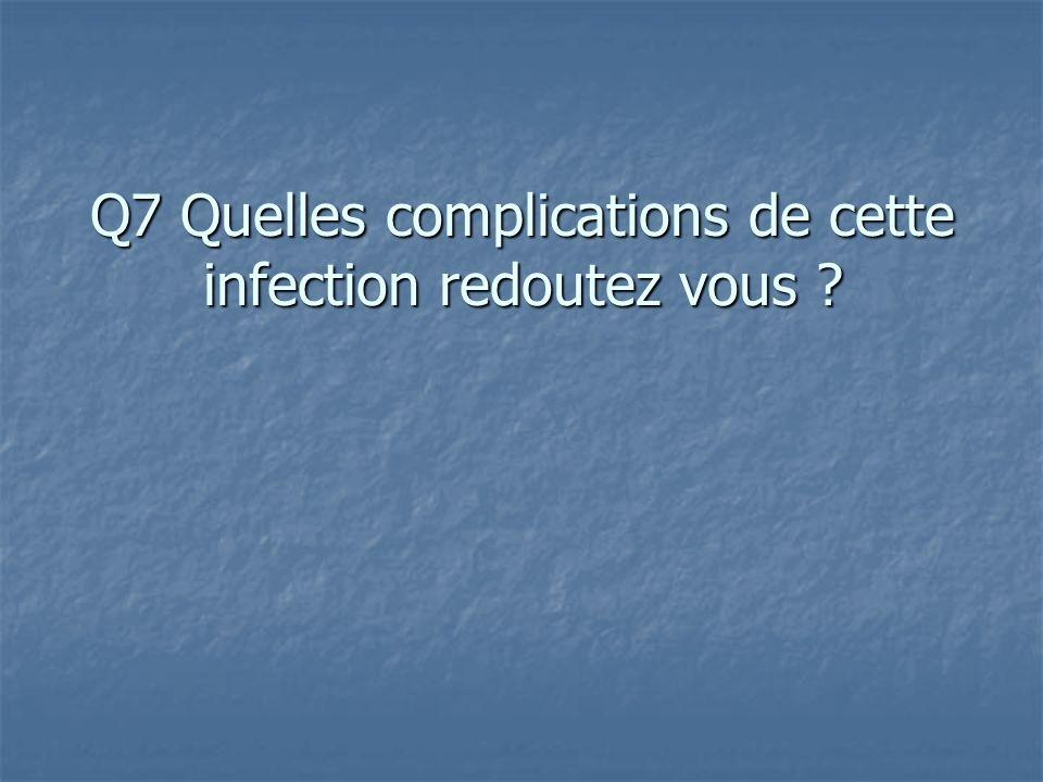 Q7 Quelles complications de cette infection redoutez vous ?