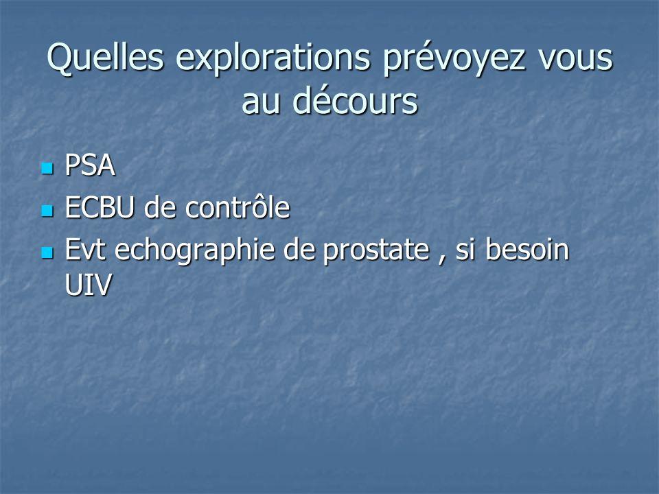 Quelles explorations prévoyez vous au décours PSA PSA ECBU de contrôle ECBU de contrôle Evt echographie de prostate, si besoin UIV Evt echographie de