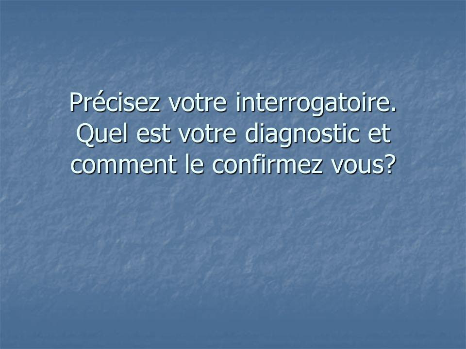 Précisez votre interrogatoire. Quel est votre diagnostic et comment le confirmez vous?