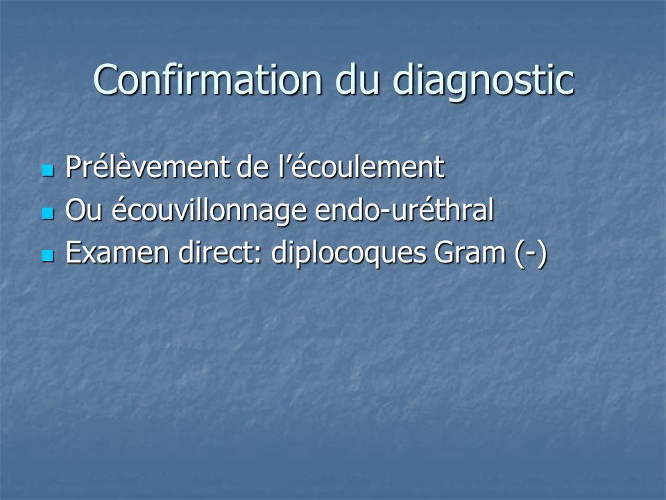 Confirmation du diagnostic Prélèvement de lécoulement Prélèvement de lécoulement Ou écouvillonnage endo-uréthral Ou écouvillonnage endo-uréthral Exame