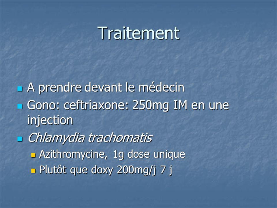 Traitement A prendre devant le médecin A prendre devant le médecin Gono: ceftriaxone: 250mg IM en une injection Gono: ceftriaxone: 250mg IM en une inj