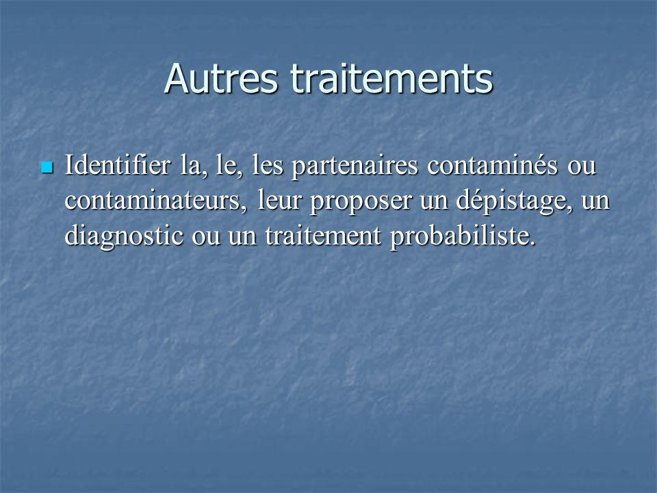 Autres traitements Identifier la, le, les partenaires contaminés ou contaminateurs, leur proposer un dépistage, un diagnostic ou un traitement probabi