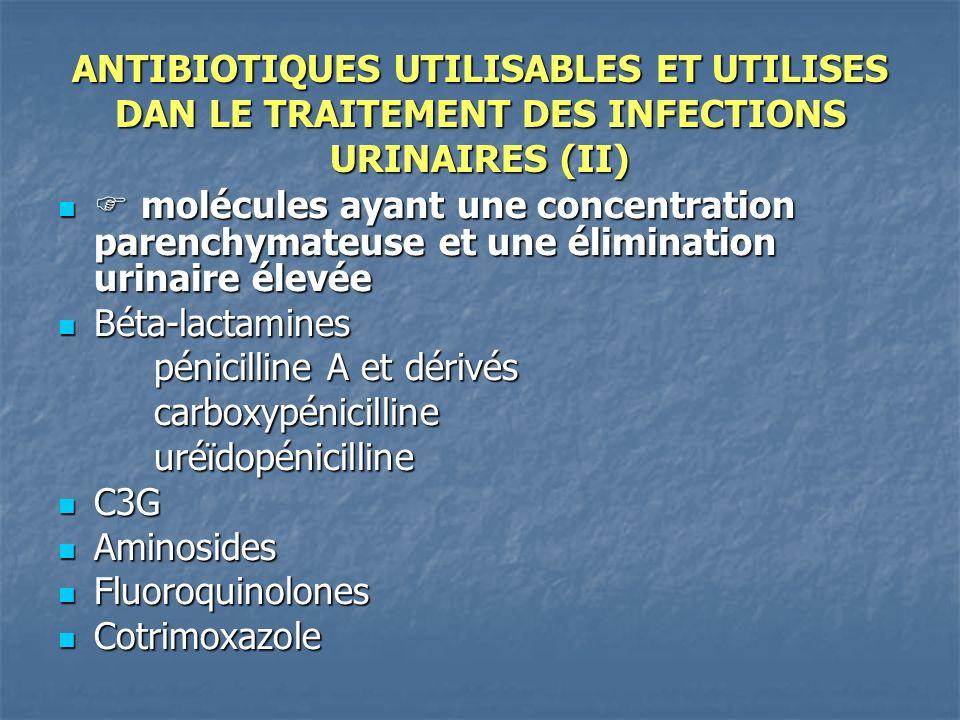 ANTIBIOTIQUES UTILISABLES ET UTILISES DAN LE TRAITEMENT DES INFECTIONS URINAIRES (II) molécules ayant une concentration parenchymateuse et une élimina
