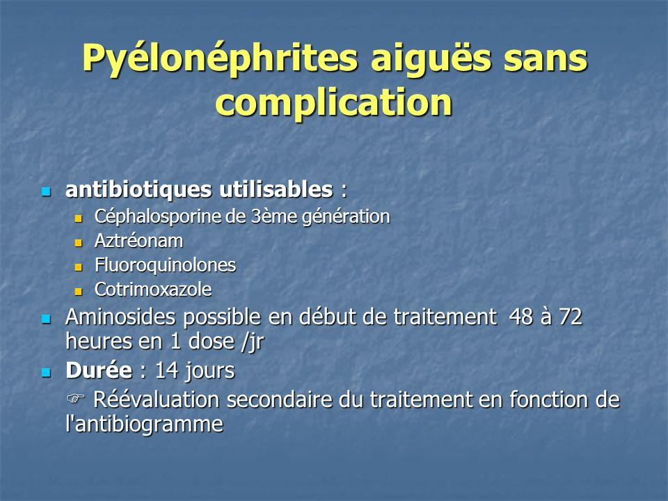 Pyélonéphrites aiguës sans complication antibiotiques utilisables : antibiotiques utilisables : Céphalosporine de 3ème génération Céphalosporine de 3è