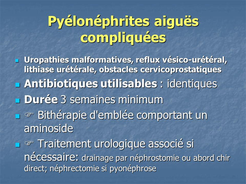 Pyélonéphrites aiguës compliquées Uropathies malformatives, reflux vésico-urétéral, lithiase urétérale, obstacles cervicoprostatiques Uropathies malfo