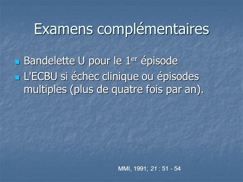 Examens complémentaires Bandelette U pour le 1 er épisode Bandelette U pour le 1 er épisode L'ECBU si échec clinique ou épisodes multiples (plus de qu