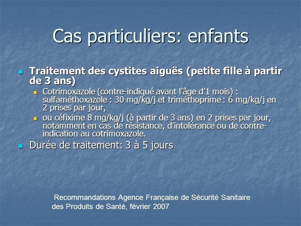 Cas particuliers: enfants Traitement des cystites aiguës (petite fille à partir de 3 ans) Traitement des cystites aiguës (petite fille à partir de 3 a