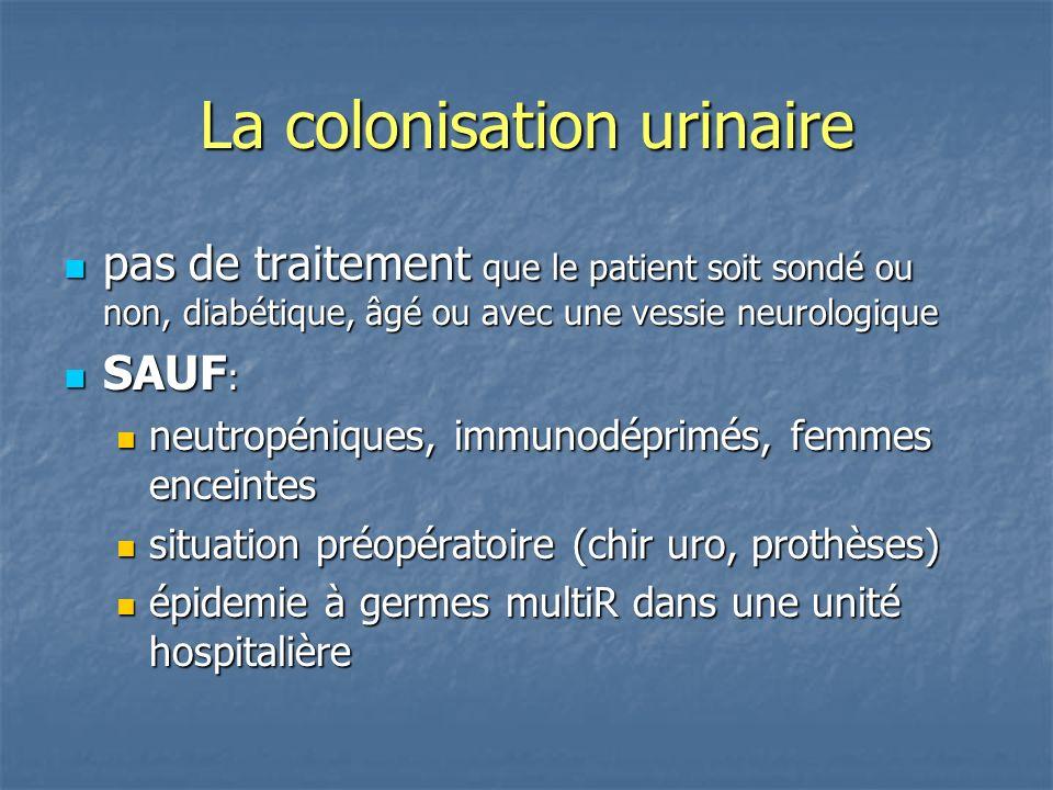 La colonisation urinaire pas de traitement que le patient soit sondé ou non, diabétique, âgé ou avec une vessie neurologique pas de traitement que le