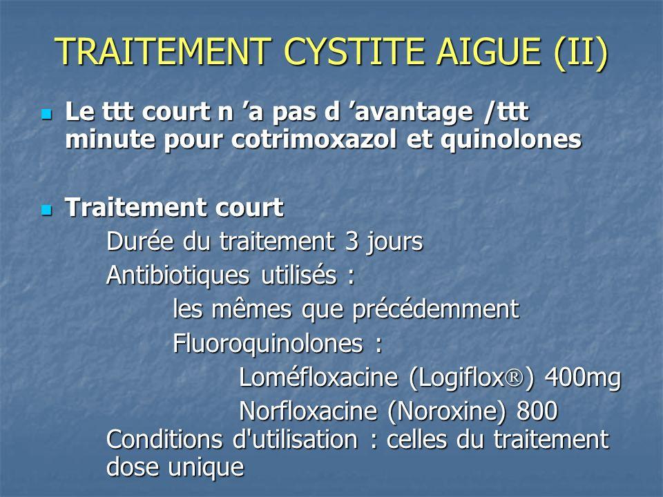 TRAITEMENT CYSTITE AIGUE (II) Le ttt court n a pas d avantage /ttt minute pour cotrimoxazol et quinolones Le ttt court n a pas d avantage /ttt minute