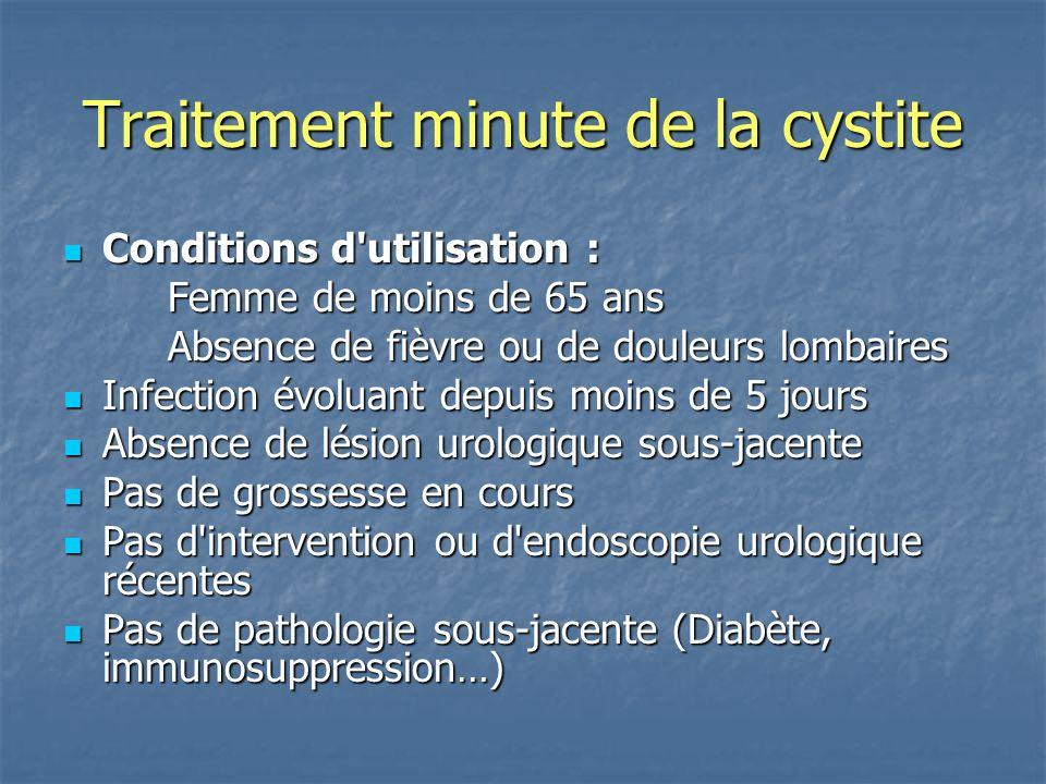 Traitement minute de la cystite Conditions d'utilisation : Conditions d'utilisation : Femme de moins de 65 ans Absence de fièvre ou de douleurs lombai