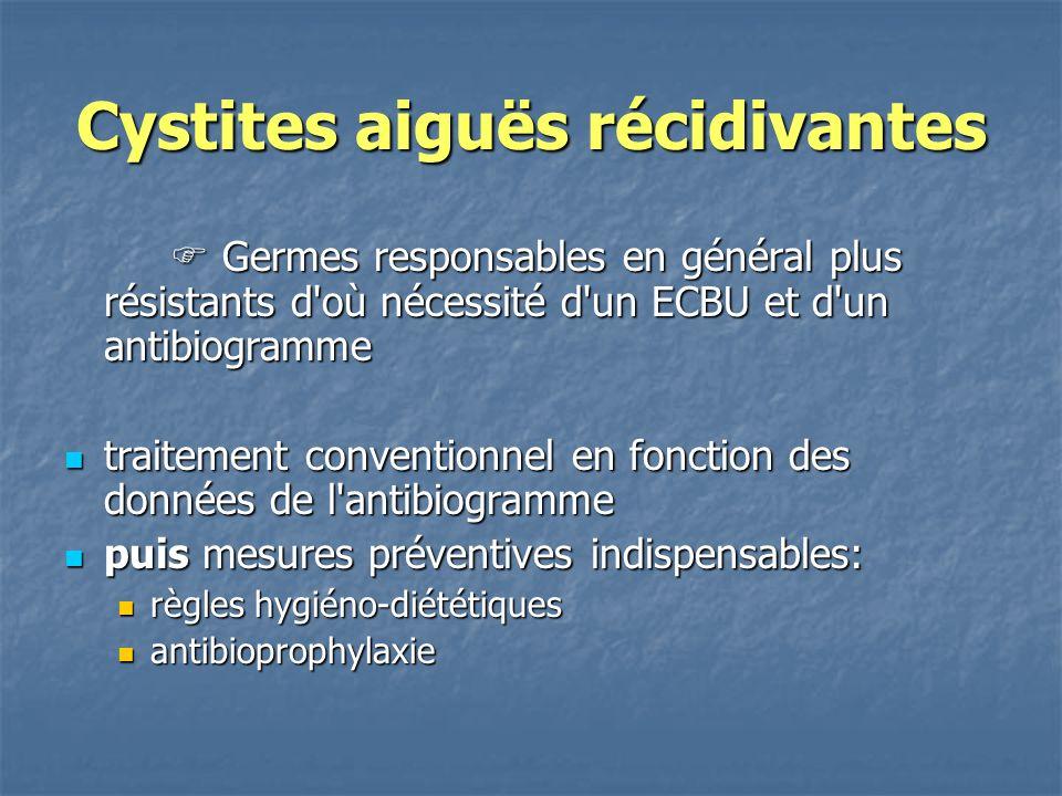Cystites aiguës récidivantes Germes responsables en général plus résistants d'où nécessité d'un ECBU et d'un antibiogramme Germes responsables en géné