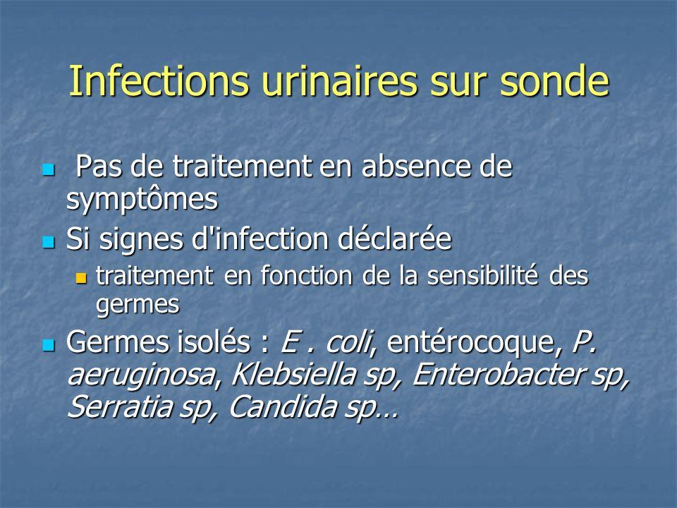 Infections urinaires sur sonde Pas de traitement en absence de symptômes Pas de traitement en absence de symptômes Si signes d'infection déclarée Si s