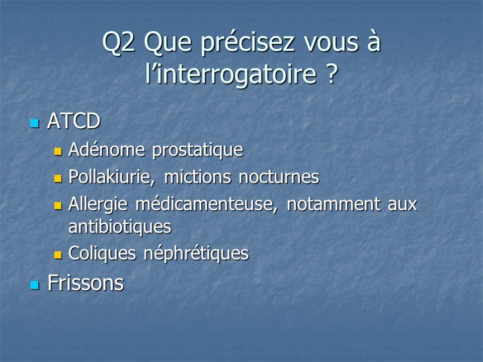 ATCD ATCD Adénome prostatique Adénome prostatique Pollakiurie, mictions nocturnes Pollakiurie, mictions nocturnes Allergie médicamenteuse, notamment a
