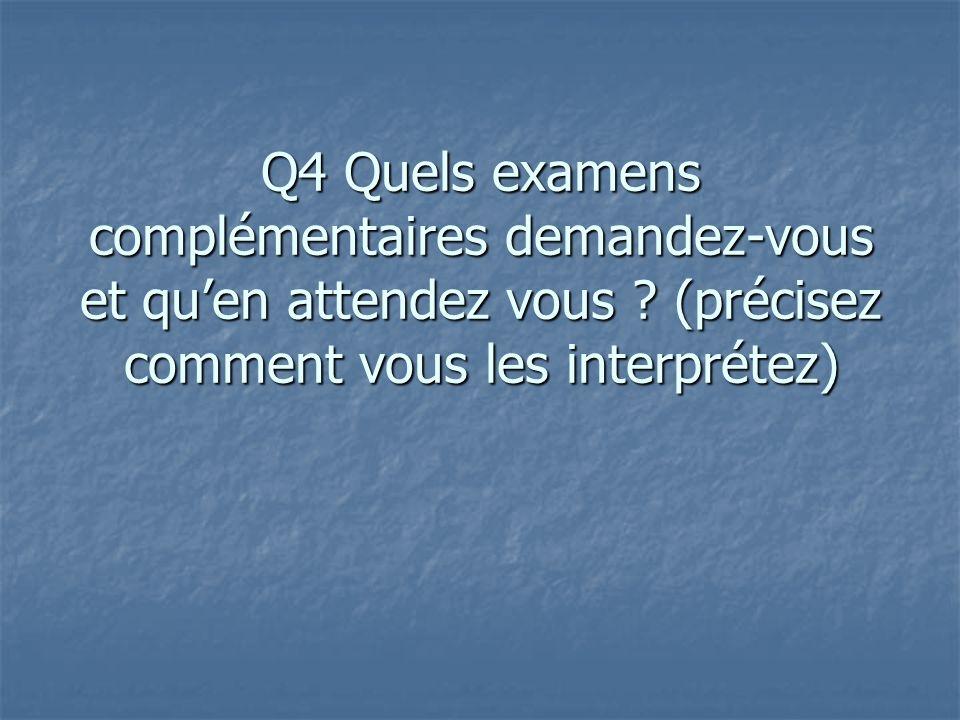 Q4 Quels examens complémentaires demandez-vous et quen attendez vous ? (précisez comment vous les interprétez)