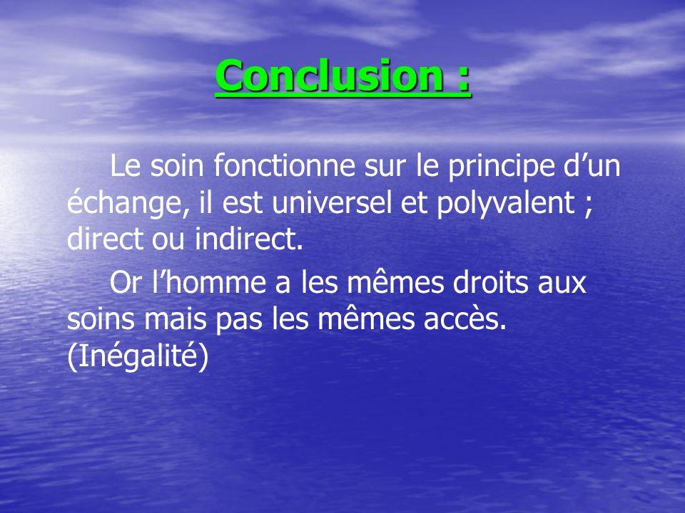 Conclusion : Le soin fonctionne sur le principe dun échange, il est universel et polyvalent ; direct ou indirect.