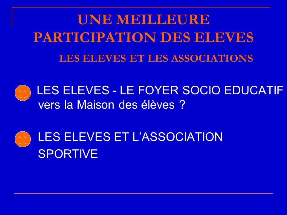 UNE MEILLEURE PARTICIPATION DES ELEVES LES ELEVES ET LES ASSOCIATIONS LES ELEVES - LE FOYER SOCIO EDUCATIF vers la Maison des élèves .