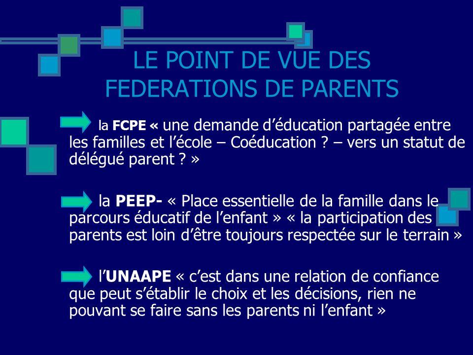 LE POINT DE VUE DES FEDERATIONS DE PARENTS la FCPE « une demande déducation partagée entre les familles et lécole – Coéducation .