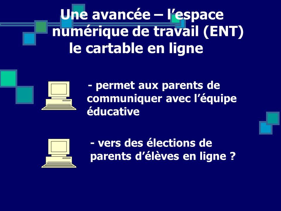 Une avancée – lespace numérique de travail (ENT) le cartable en ligne - permet aux parents de communiquer avec léquipe éducative - vers des élections de parents délèves en ligne ?