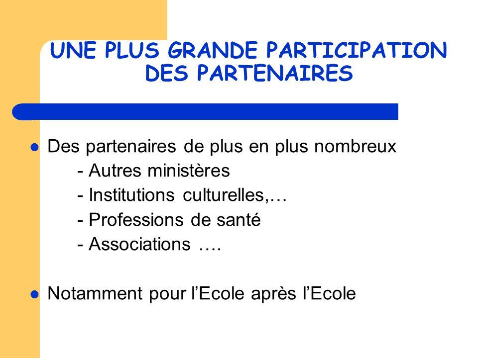 UNE PLUS GRANDE PARTICIPATION DES PARTENAIRES Des partenaires de plus en plus nombreux - Autres ministères - Institutions culturelles,… - Professions de santé - Associations ….