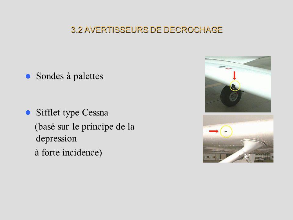 3.2 AVERTISSEURS DE DECROCHAGE Sondes à palettes Sifflet type Cessna (basé sur le principe de la depression à forte incidence)