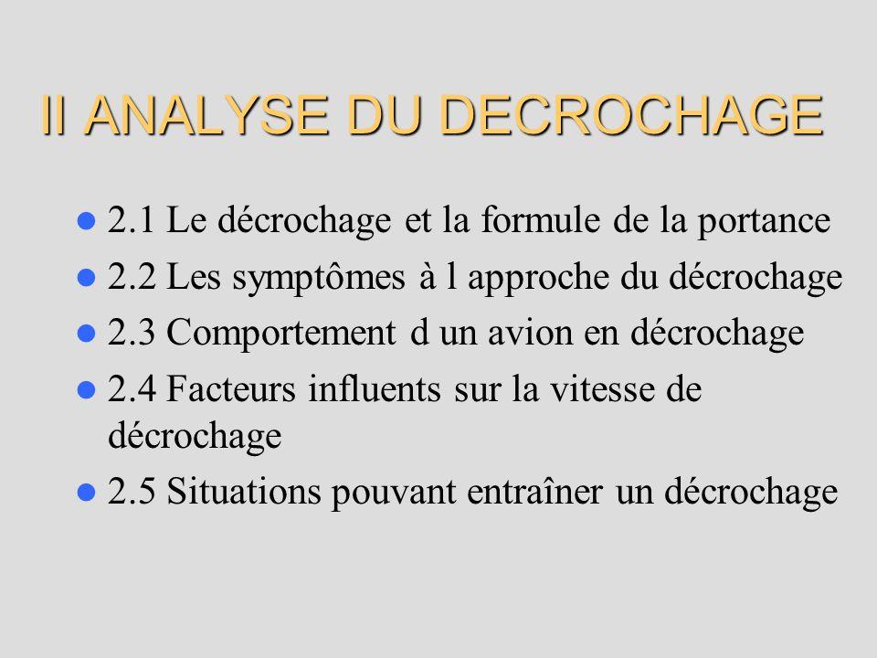 II ANALYSE DU DECROCHAGE 2.1 Le décrochage et la formule de la portance 2.2 Les symptômes à l approche du décrochage 2.3 Comportement d un avion en décrochage 2.4 Facteurs influents sur la vitesse de décrochage 2.5 Situations pouvant entraîner un décrochage