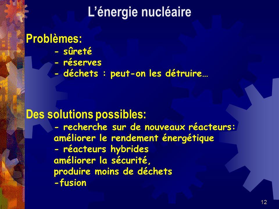 12 Problèmes: - sûreté - réserves - déchets : peut-on les détruire… Lénergie nucléaire Des solutions possibles: - recherche sur de nouveaux réacteurs: