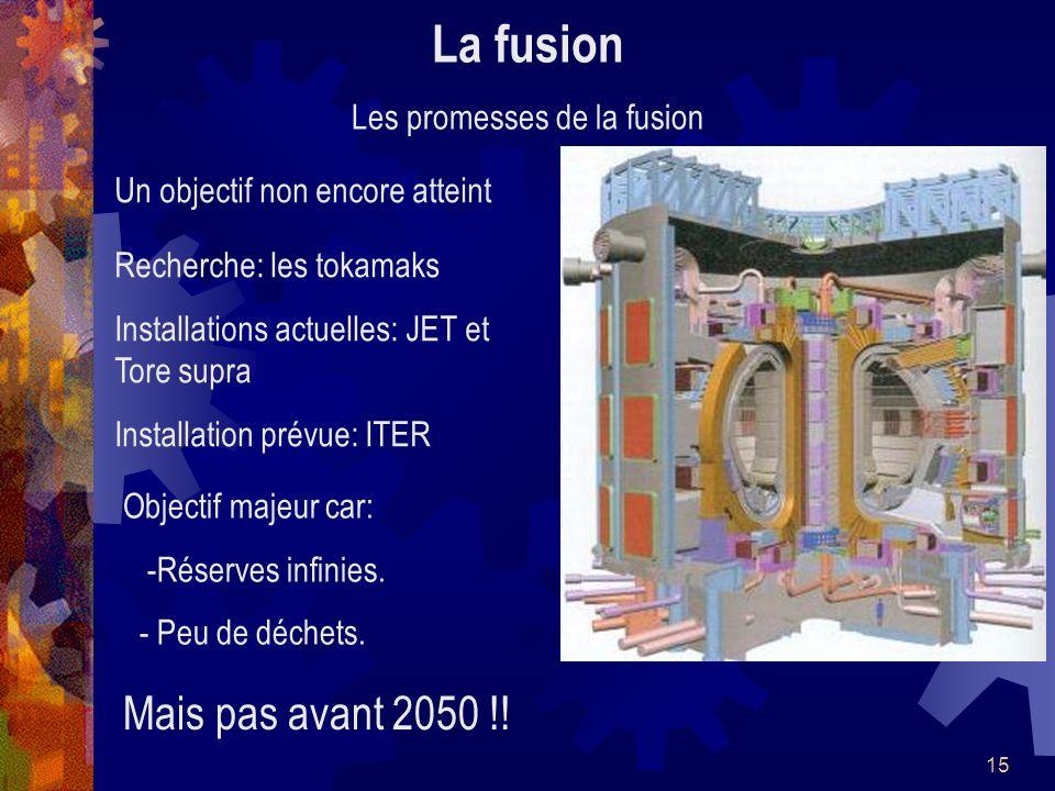 15 La fusion Les promesses de la fusion Un objectif non encore atteint Recherche: les tokamaks Installations actuelles: JET et Tore supra Installation