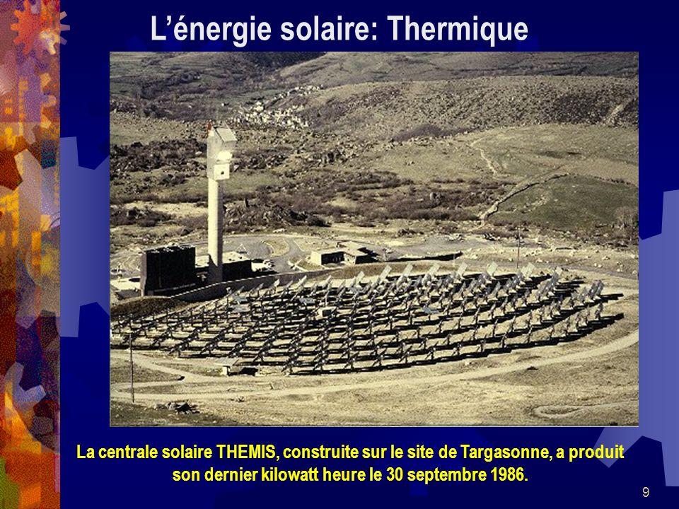 9 Lénergie solaire: Thermique La centrale solaire THEMIS, construite sur le site de Targasonne, a produit son dernier kilowatt heure le 30 septembre 1