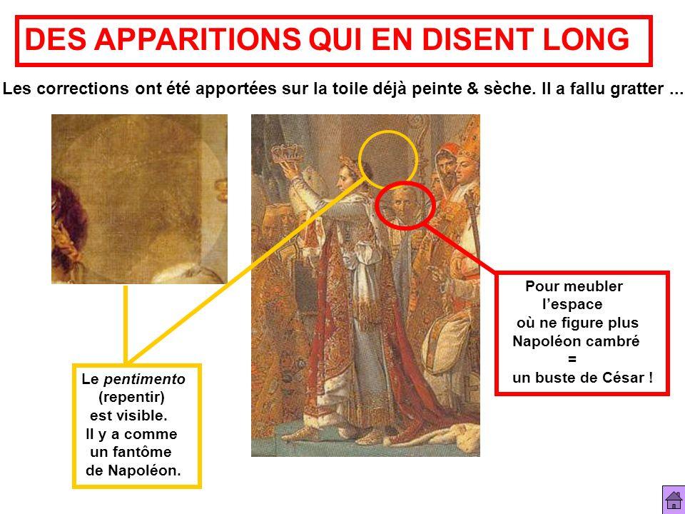 DES APPARITIONS QUI EN DISENT LONG Les corrections ont été apportées sur la toile déjà peinte & sèche. Il a fallu gratter... Le pentimento (repentir)