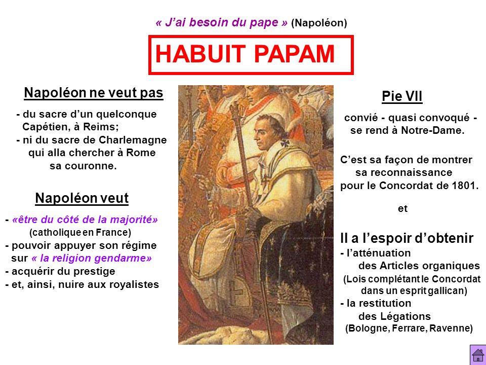 « Jai besoin du pape » (Napoléon) HABUIT PAPAM Napoléon ne veut pas - du sacre dun quelconque Capétien, à Reims; - ni du sacre de Charlemagne qui alla