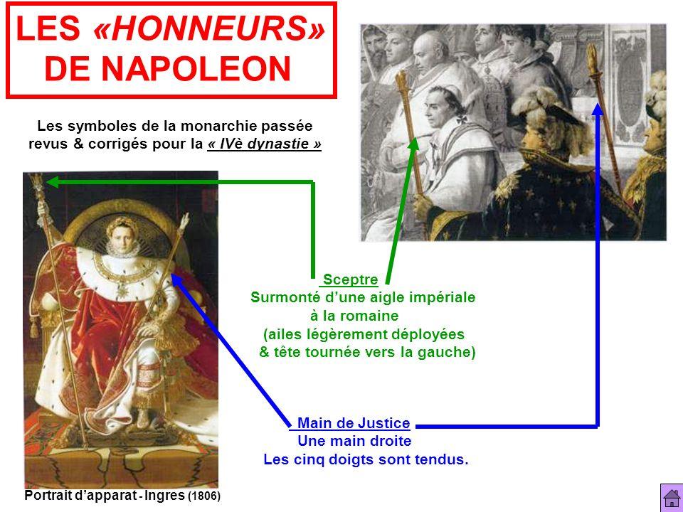 LES «HONNEURS» DE NAPOLEON Les symboles de la monarchie passée revus & corrigés pour la « IVè dynastie » Portrait dapparat - Ingres (1806) Sceptre Sur