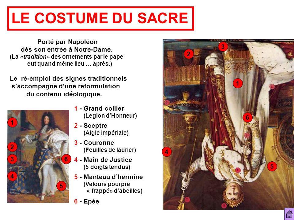 LE COSTUME DU SACRE Porté par Napoléon dès son entrée à Notre-Dame. (La «tradition» des ornements par le pape eut quand même lieu … après.) Le ré-empl
